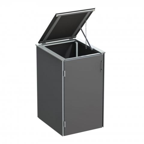 Traumgarten Binto Mülltonnenbox HPL schiefer mit Klappdeckel 4033821046793