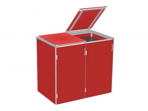 Traumgarten Binto 2er Mülltonnenbox HPL rot mit Klappdeckeln 4033821046847