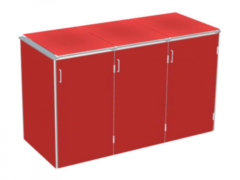 Traumgarten Binto 3er Mülltonnenbox HPL rot mit Klappdeckeln 4033821046854