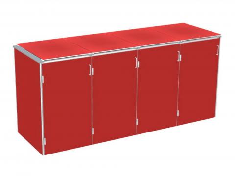 Traumgarten Binto 4er Mülltonnenbox HPL rot mit Klappdeckeln 4033821046861