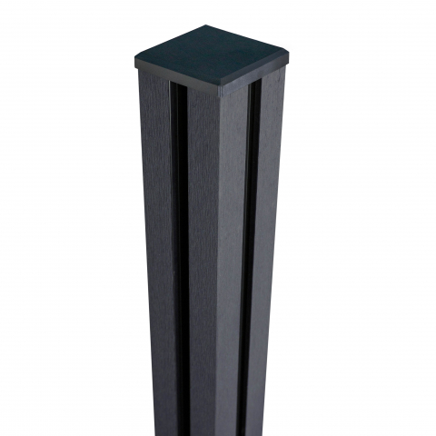 GrojaSolid Steckzaun Torpfosten anthrazitgrau, 10x10x190cm, inkl. Kappe zum Aufschrauben auf Betonfundament 4250260968299