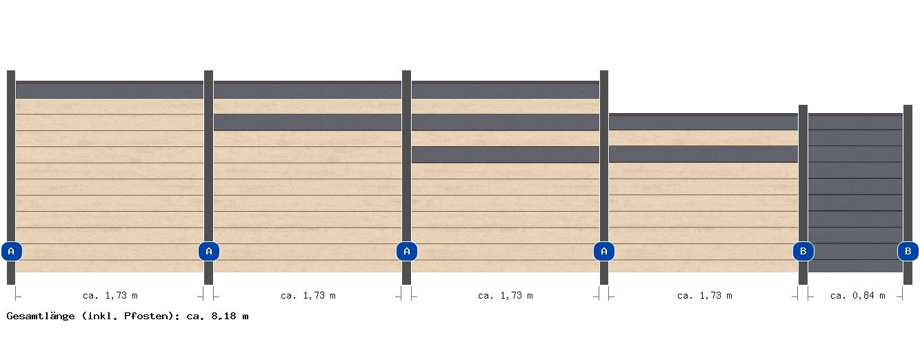 8 18m system wpc anthrazit sand me27262 zaun. Black Bedroom Furniture Sets. Home Design Ideas
