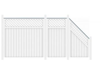 sichtschutzzaun riva wei 1819 longlife 90x180 mit gitter zaun. Black Bedroom Furniture Sets. Home Design Ideas