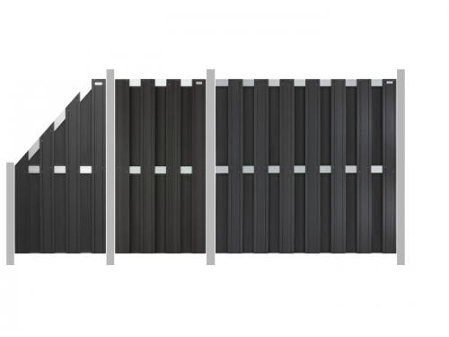 3 9m zaun elephant design wpc anthrazit me27200 ebay. Black Bedroom Furniture Sets. Home Design Ideas